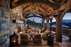 Brilliant Patio ideas. Chandelier, Beams.. Fireplace & Mantle. Cannot for get heaters, possible T.V ... & hot tub. Outdoor bar is also an option.