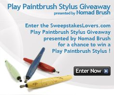 Enter the SweepstakesLovers.com Play Paintbrush Stylus Giveaway presented by Nomad Brush for a chance to win a Play Paintbrush Stylus !    http://www.sweepstakeslovers.com/our-giveaways/sweepstakeslovers-com-play-paintbrush-stylus-giveaway-presented-by-nomad-brush/