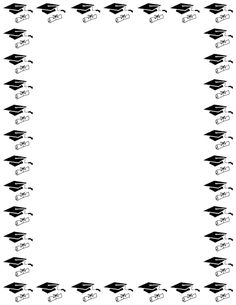 A simple black and white border featuring a graduation cap and diploma. Free downloads at http://pageborders.org/download/graduation-border/