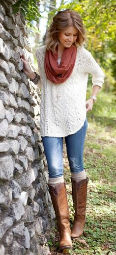 Fall style with white sweater, denim and boots