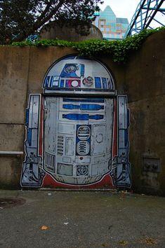 geek art, street art utopia, graffiti, stars, starwar, r2d2, star wars, art walls, streetart