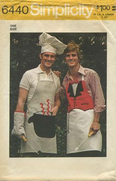 Vintage Apron Sewing Pattern | Men's Aprons, Mitt and Chef's Hat | Simplicity 6440 | Year 1974 | One Size