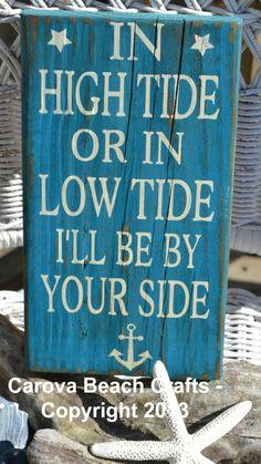 Wedding Sign - Anniversary Sign Beach Wedding Nautical Wedding - In High Tide or Low Tide - Beach Wedding - Anchor Decor Coastal Decor