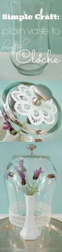 DIY a glass vase into a cloche -- Simple #cloche #craft with #marthastewart for #plaid