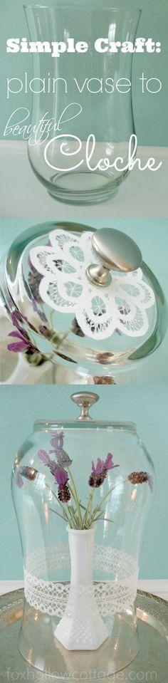 DIY a glass vase into a cloche -- Simple #cloche #craft #tutorial