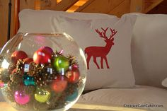 cabin homes, pine cone, cain cabin, christma decor, ornament, creativ cain, cabins, log, christmas trees
