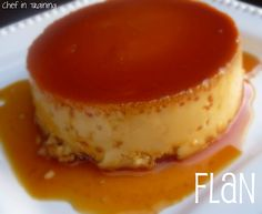 SPANISH FLAN, 1c sugar, 3lg eggs,  1(14 oz) can sweetened condensed milk, (12 oz) can evaporated milk,1tsp vanilla, Preheat 350 F. In a med pan med-low heat, melt sugar til liquefied & golden in color.Carefully pour hot syrup in a 9 in rd glass baking dish, evenly coat bottom & sides. Set aside. In a lg bowl, beat eggs. Beat in cond milk, evap milk & vanilla til smooth. Pour into baking dish & cover w/foil. Bake 350-60 mins. completely cool.To serve, invert on serving plate w/edges when cool.