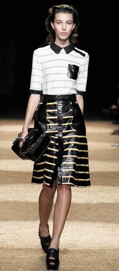 style, leather skirts, runway, collar, latest fashion trends, schouler spring, proenza schouler, spring 2012, stripe