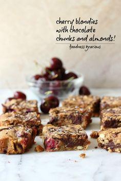 Cherry Chocolate and Almond Sea Salt Blondies | Foodness Gracious