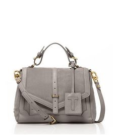 Suede and Leather Satchel.