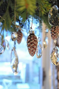 pinecone ornaments and bling.