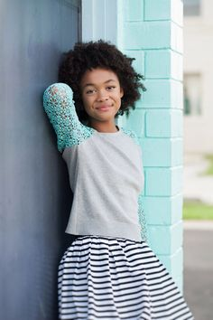 Crochet sleeves, cashmere and bubble skirt -tween fashion www.froskwear.com