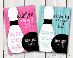 Bowling Party Invitation boy or girl