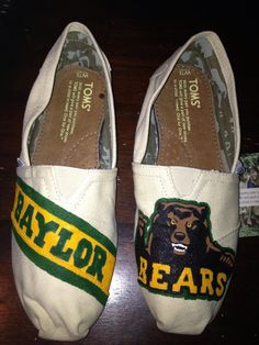 Hand-Painted #Baylor TOMS - Love these!
