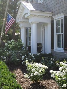 white knockout roses, boxwood, limelight hydrangea  - Hillary W Taylor Interiors