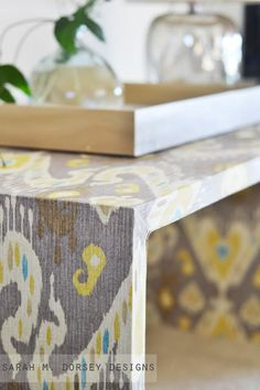fabric covered table built from two doors