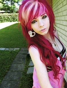white hair, red hair, color, blondes, long hair, blonde highlights, pink, scene hair, bang