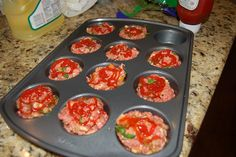 Meatloaf Muffins~ Preheat oven to 350 degrees. Mix all the ingredients together in a bowl, but only use about ¼ of the tomato sauce/ketchup in the meat mixture. Press the meat into the muffin cups (you should be able to get eight to 10 out of this amount of meat). Top with a dollop of tomato sauce/ketchup on each one. Cook for 30-35 minutes. Serve two per person.