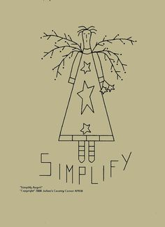 "Primitive Stitchery E-Pattern ""Simplify Angel"""
