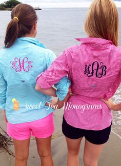 Sweet Tea Monograms gingham PFG shirts