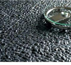 Glazed Black pebble tile bathroom floor - Zen spa bathroom