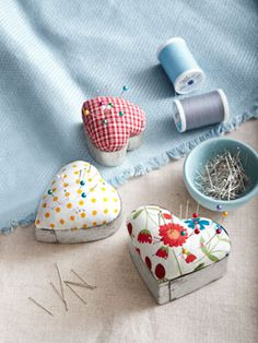 valentine day crafts, heart, gift ideas, sewing diy, pincushions