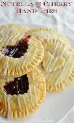 Nutella and Cherry Hand Pies - Valentine's Day Dessert Recipe - Heart Pie - wonkywonderful.com #Go Tart!