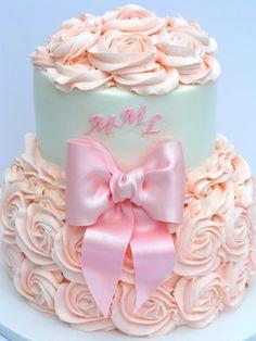 pink roses, baby shower cakes, girl cakes, baby girls, bow, rose cake, babi shower, birthday cakes, baby showers