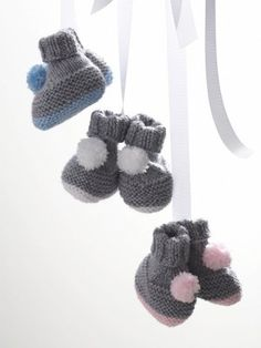 Is she toddling around the playroom, or walking on a cloud? She won't be able to tell the difference while wearing these adorable knit baby booties. Get the free pattern here.
