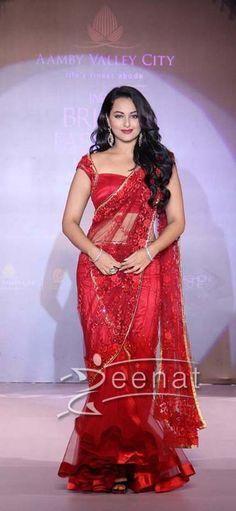 Sonakshi Sinha Red Saree