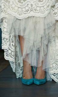 ♥ #wedding dresses Blue #shoes www.fiditforweddings.com