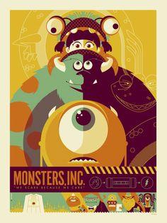Tom Whalen for Disney film, graphic, color, art, monstersinc, monsters inc, pixar movies, poster designs, print
