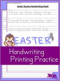 Printable Easter Worksheets: Kindergarten Handwriting Practice