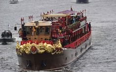 The Royal barge, 'Spirit of Chartwell' carrying Britain's Queen Elizabeth II