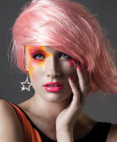 face paintings, costume ideas, stars, jem, halloween makeup, 80s style, makeup looks, pink, hair