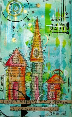 houses drawn with ink on book pages, color washed, then cut and collaged onto a layered background.  lovely