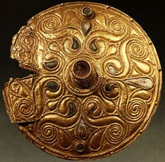 Celtic gold-plated bronze disc from Auvers-sur-Oise, Yvelines, dated to early 4th century BC, on display at the Cabinet des Médailles of the Bibliothèque Nationale in Paris