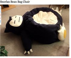 SNORLAX BEANBAG. WHAT THE HELL YES. THIS IS THE BEST EVER. It'd only be better if it was a jiggly puff bahahhaha