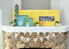 Vintage Door Beachy Summer Mantel