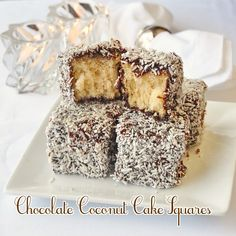 Chocolate Coconut Cake Squares a.k.a. Lamingtons! Moist cake squares dipped in chocolate syrup and covered in coconut. A childhood favourite.