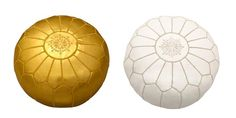 Jilly's 12 Days of Christmas #giveaway Gold/White Leather Pouf Footstool from The Cross