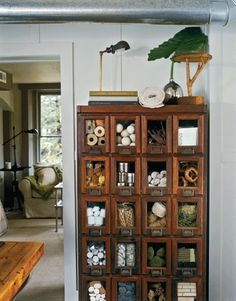 Antique seed packet cabinet. Nice!