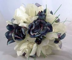 blue and ivory magnolia rose bouquet