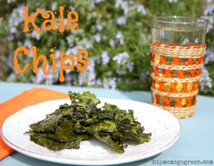 Kale chips ~ Super easy snack for kids.  #healthysnack, #kale, #organicrecipes, #kalechips