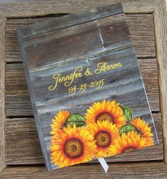 Rustic Wedding Guest Book - Sunflowers and Wood - Sunflower Wedding - Personalized Custom Guestbook on Etsy, $35.00