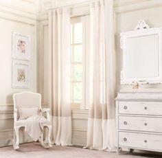 Linen Colorblock Ruffle Drapery Panel | Drapery | Restoration Hardware Baby & Child