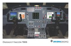 """Universal Avionics: Dassault Falcon 900B - (1) Display Suite: 5 EFI-890R 8.9"""" Flat Panel Displays with one fully dedicated engine display (ED); (2) Situational Awareness: 2 Vision-1 Synthetic Vision Systems, 2 Application Server Units (ASU) for Jeppesen charts, checklists, weather and E-DOCS; (3) Flight Management: 2 UNS-1Fw FMSs with 5"""" CDUs (optional 3rd FMS); (4) Radio Tuning and Communications: 2 Radio Control Units (RCU), 1 UniLink UL-801 Airborne Datalink Communications Management Unit"""