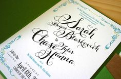 Green + Turquoise Garden Party Wedding Invitations by Mountain Paper via Oh So Beautiful Paper (2)