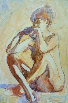Nude on yupo paper by Sandrine Pelissier