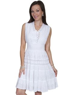 Scully® White Sequins and Crochet Sleeveless Western Dress